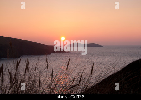 Cardigan Island at sunset from above Mwnt beach Ceredigion West Wales UK - Stock Photo