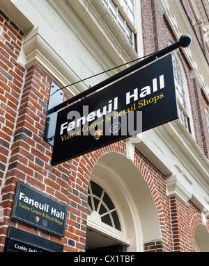 Sign outside Faneuil Hall, Boston, Massachusetts, USA - Stock Photo