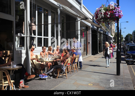 Cafes in Westbourne Grove Notting Hill London W11 - Stock Photo