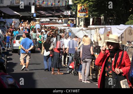 Portobello Road Market at Notting Hill in London W11 - Stock Photo