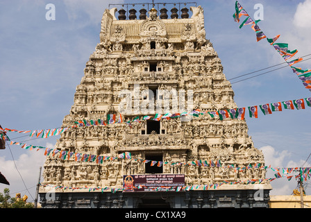 Elk201-4174 India, Tamil Nadu, Kanchipuram, Sri Kanobi Kamakodi Temple, gold temple gopuram - Stock Photo