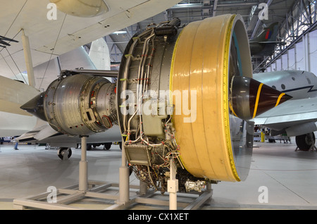 Rolls Royce Trent 800 turbofan jet engine on display at Duxford - Stock Photo
