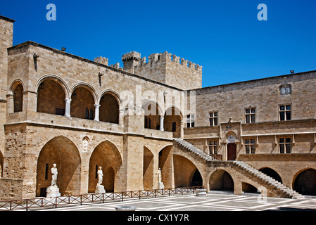 The inner court at the Palace of the Grand Master, medieval town of Rhodes island, Dodecanese, Greece. - Stock Photo