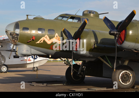 Boeing B-17G Flying Fortress, 'Sally B', on display at Duxford Airshow - Stock Photo