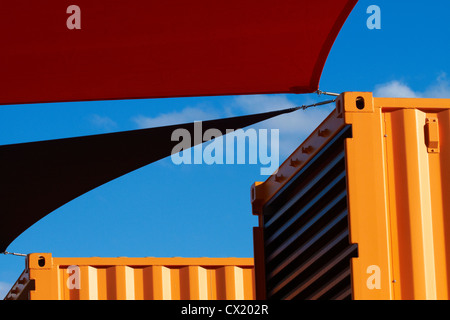 Brightly painted shipping containers at Re:START container mall, Cashel Street, Christchurch, Canterbury, New Zealand - Stock Photo