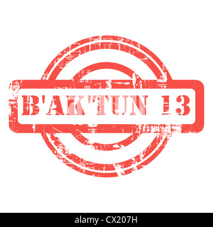 Mayan Prophesy, 21st of December 2012, end of the B'ak'tun 13 era used red grunge stamp isolated on white background. - Stock Photo
