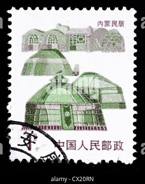 A Stamp printed in China shows local dwelling in Inner Mongolia - Stock Photo