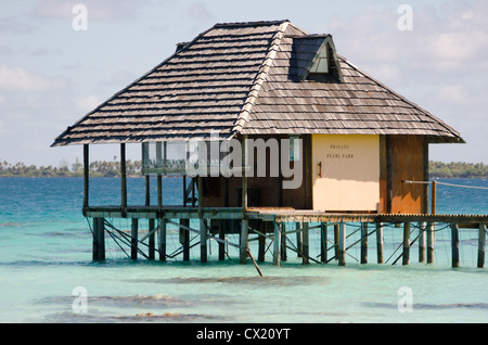 A Pearl Farm at the Havaiki Resort in Fakarava in French Polynesia - Stock Photo