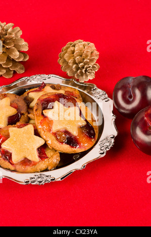 Christmas mince pies with a plum filling - Stock Photo