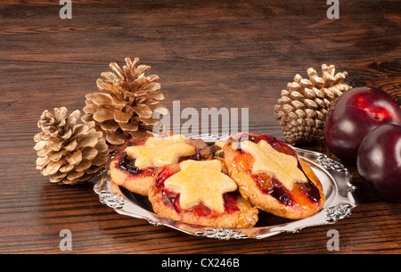 Fruity mince pies, a traditional Christmas sweet - Stock Photo