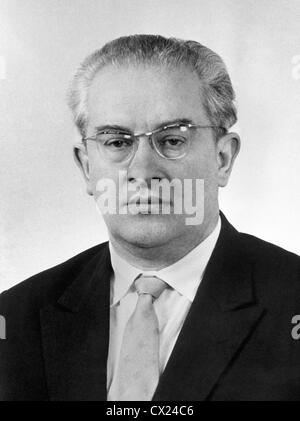 USSR. Moscow. Chairman of the KGB (Committee for State Security) Yuri Andropov. Reproduction. Photo TASS . . / - Stock Photo
