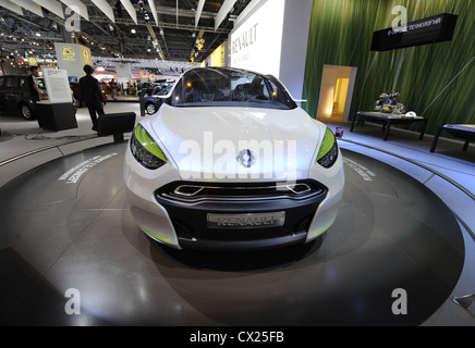 MOSCOW, RUSSIA. AUGUST 25, 2010. Renault Fluence ZE Concept displayed at the 2010 Moscow International Car Show. - Stock Photo
