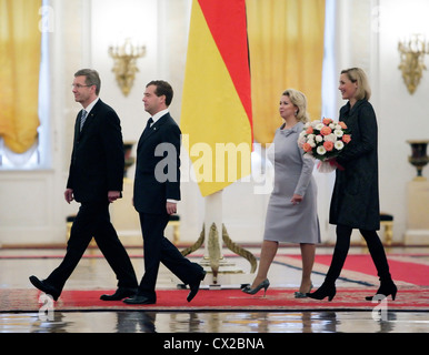 ITAR-TASS: MOSCOW, RUSSIA. OCTOBER 12, 2010. Russian President Dmitry Medvedev (2nd L) with his spouse Svetlana - Stock Photo