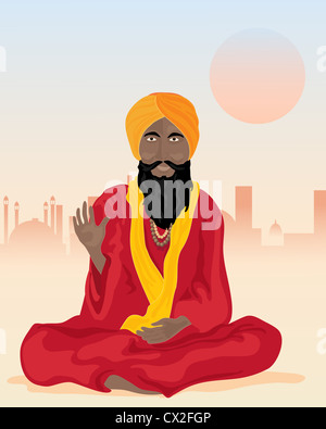 an illustration of an indian sadhu sat cross legged with colorful turban and robes in front of a dusty city - Stock Photo