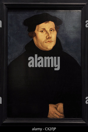 Martin Luther (1483-1546). German monk, icon of the Protestant Reformation. Portrait by Lucas Cranach the Elder, - Stock Photo