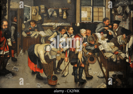 Pieter Brueghel the Younger (1564-1636). Flemish painter. The Collector's Office, after 1615. - Stock Photo