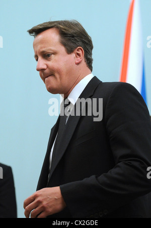 ITAR-TASS: MOSCOW, RUSSIA. SEPTEMBER 12, 2011. British prime minister David Cameron at talks with Russian prime - Stock Photo