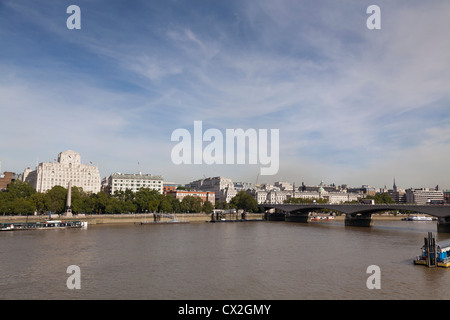 Shell Mex House and Waterloo Bridge panorama over the Thames - Stock Photo