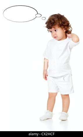 Curly pensive little girl isolated on white - Stock Photo