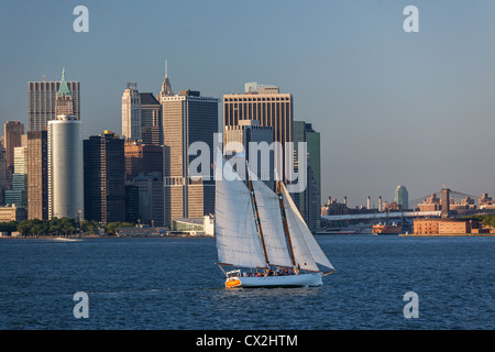 Lower Manhattan Skyline, Sailing Boat, East River,  New York - Stock Photo
