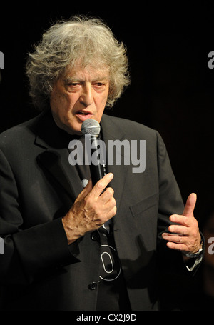 ITAR-TASS: MOSCOW, RUSSIA. SEPTEMBER 23, 2011. British playwright Sir Tom Stoppard performs the benefit concert - Stock Photo
