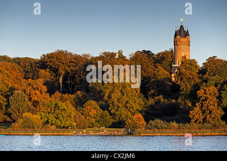 Flatow Tower in Park Babelsberg, Potsdam, Brandenburg, Germany - Stock Photo