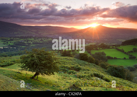 Sunrise over the Sugarloaf and town of Crickhowell, Brecon Beacons National Park, Powys, Wales. Summer (August) - Stock Photo