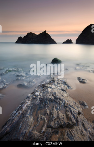 Twilight at Soar Mill Cove in South Hams, Devon, England. Autumn (September) 2010. - Stock Photo