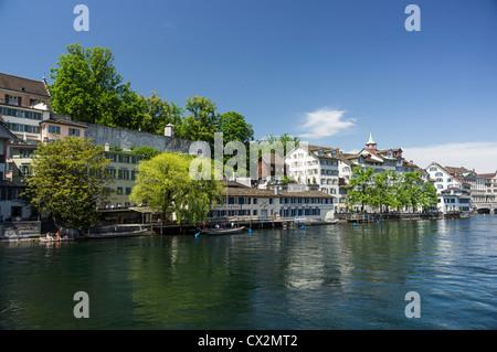 Limmat , Riverside, Zurich, Switzerland - Stock Photo