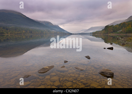 Misty autumn morning on the shores of Loch Voil, The Trossachs, Stirling, Scotland. Autumn (October) 2010. - Stock Photo