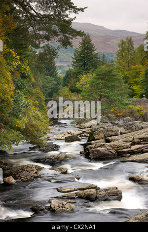 The Falls of Dochart at Killin, Loch Lomond and The Trossachs National Park, Stirling, Scotland. Autumn (October) - Stock Photo