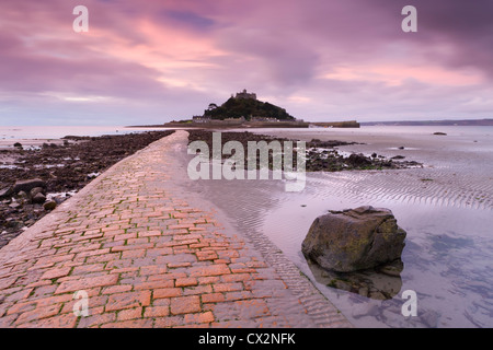 Causeway at low tide, leading to St Michael's Mount, Cornwall, England. Autumn (October) 2010. - Stock Photo