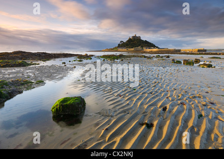 Low tide over Mounts Bay looking towards St Michaels Mount, Cornwall, England. Autumn (October) 2010. - Stock Photo