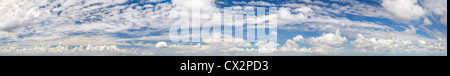 High resolution super panorama of various cloud formations in the sky - Stock Photo