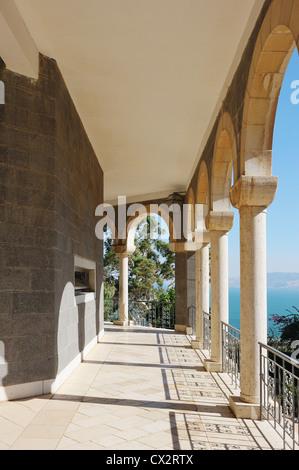 Church on the Mount of Beatitudes near Lake Kinneret (Israel) - Stock Photo