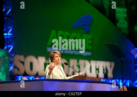 Representative Nancy Pelosi speaks at AFSCME Convention - Stock Photo