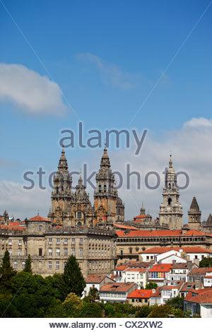 Santiago de Compostela, facade of the cathedral. Galicia, Spain. - Stock Photo