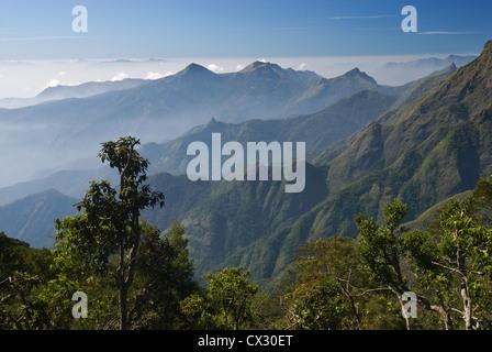 Elk201-5393 India, Tamil Nadu, Kodaikanal, Pillar Rocks Lookout, landscape - Stock Photo