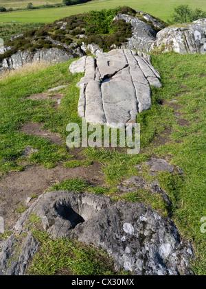 dh Kilmartin Glen DUNADD ARGYLL Cup Stone and footprint Dunadd Hillfort Crag fort Dalriada