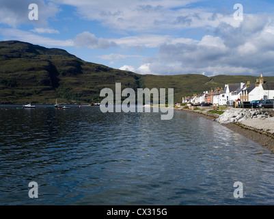 dh waterfront ULLAPOOL ROSS CROMARTY Fishing boat departing Loch Broom seafront houses highlands scotland