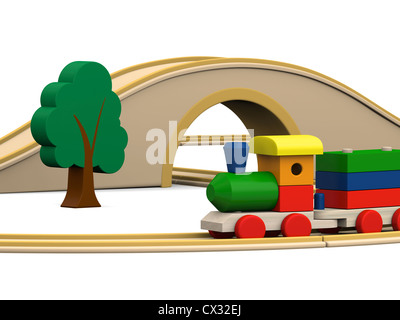 3D illustration of colorful wooden toy train with track, tunnel and bridge - Stock Photo
