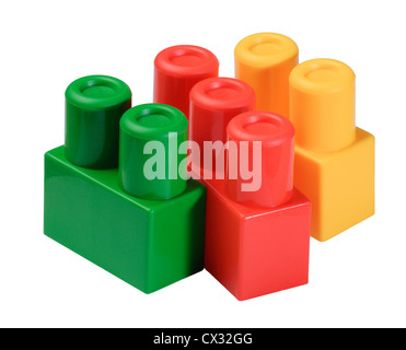 colorful toy building blocks stacks isolated on white - Stock Photo