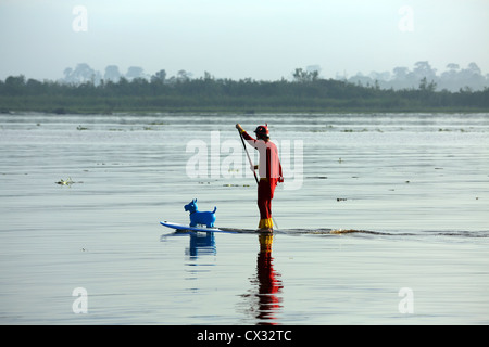 A man dressed in a superhero costume paddles a stand up paddle board (SUP) with rubber toy cow on the Kampar River - Stock Photo
