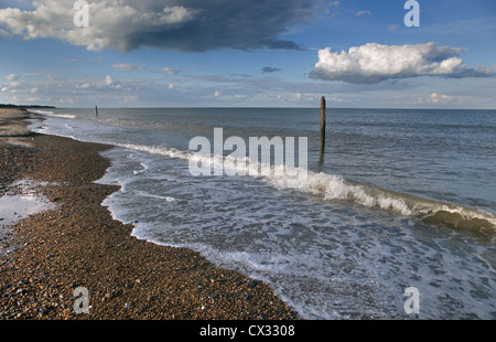 Caister Beach Norfolk in September - Stock Photo