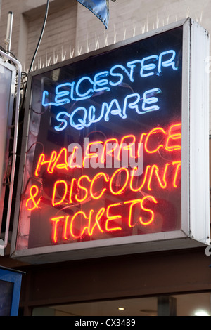 Half Price Dicount Threatre Tickets Signs; Leicester Square; London - Stock Photo