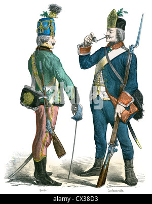 Prussian Hussar and Infantry Soldier from the 18th Century, circa 1760 - Stock Photo