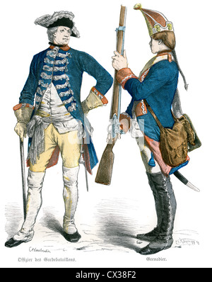 Prussian Officer and Grenadier Soldier from the 18th Century, circa 1770 - Stock Photo