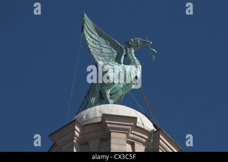 Liver Bird statue on Liver building in Liverpool, England - Stock Photo