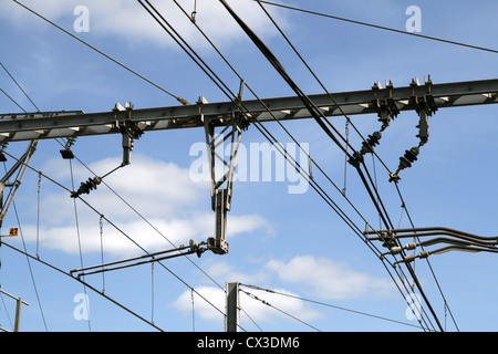 train catenary and power line cables - Stock Photo