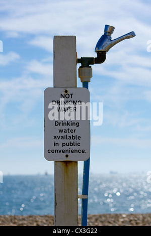 'Not Drinking Water' Sign at Hayling Beach, Hampshire, England UK - Stock Photo
